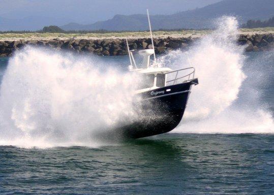Boat in spray